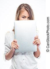 laptop, mulher, boca, dela, cobertura