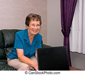 laptop, mulher, computador, idoso