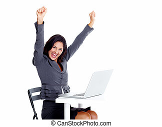 laptop, mulher, computer., negócio, feliz