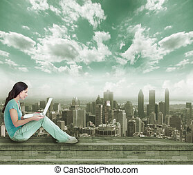 laptop, mulher, jovem, computer.