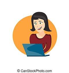 laptop, mulher, jovem, ilustração, caricatura