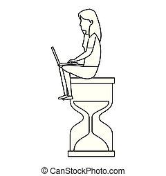 laptop, mulher, jovem, trabalhando, ampulheta