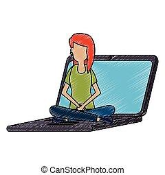 laptop, mulher, jovem, trabalhando