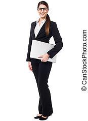 laptop, mulher, posar, jovem, formals