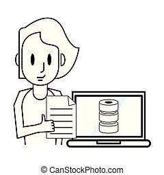laptop, mulher, trabalhando