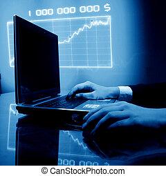 laptop, munka, pénzel