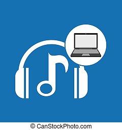 laptop, musica, tecnologia, nota, cuffie