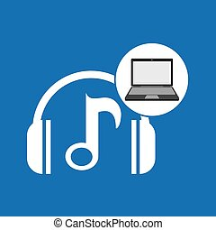 laptop, musik, teknologi, anteckna, hörlurar