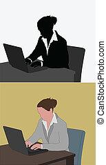 laptop, nő, dolgozó, neki