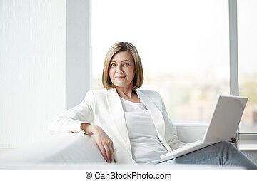 laptop, nő