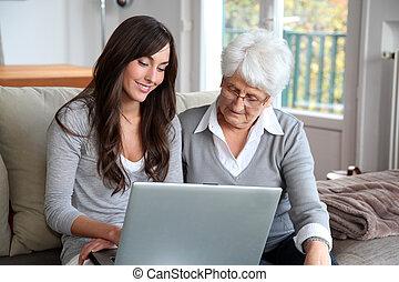 laptop, nő, számítógép, fiatal, öregedő