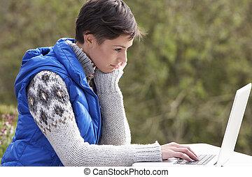 laptop, nő, számítógép, fiatal