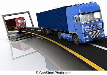 laptop, nadchodzący, ciężarówki, poza