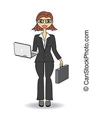 laptop, negócio mulher