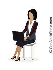 laptop, negócio mulher, trabalhando