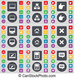 Laptop, Network, Hand, Monitor, House, Stop, Laptop, Player, Chat bubble icon symbol. A large set of flat, colored buttons for your design.