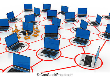 laptop network with traffic cone