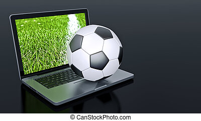 laptop, noha, futball foci, labda