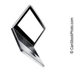 laptop, nowoczesny, odizolowany, biały