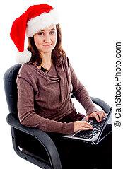 laptop, occupato, cappello, natale, donna