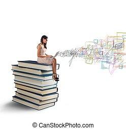 laptop, och, böcker