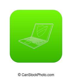 laptop, ochrona, zielony, tarcza, ikona