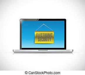 laptop, og, elektroniske, garanti, tegn, banner