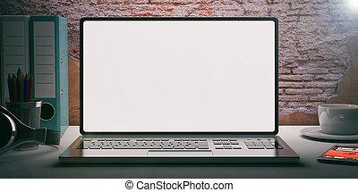 Laptop on a desk - brickwall background. 3d illustration