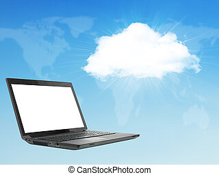 Laptop on abstract background with cloud