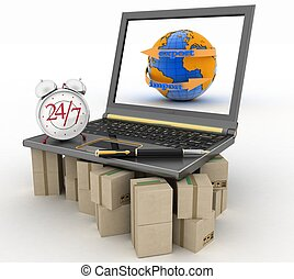 Laptop on cardboard boxes wiht clock and pen. Concept of...