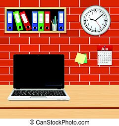 Laptop on designer desktop in modern office interior