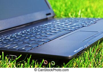 Laptop on grass. Shallow DOF