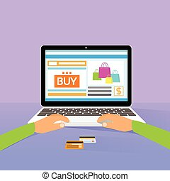 laptop on line shopping hands type buy flat design vector...