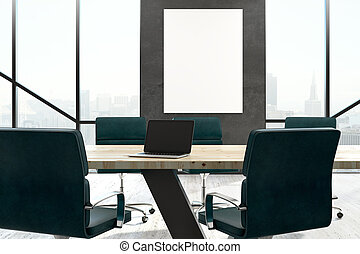 Laptop on meeting table