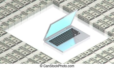 Laptop on paper dollars - part of isometric collections of...