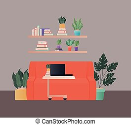laptop on table in front orange couch vector design