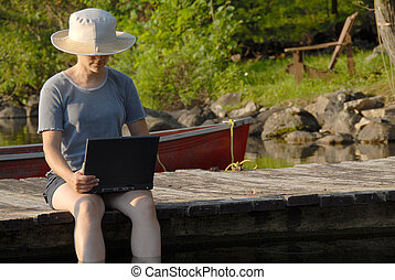 Laptop on the dock