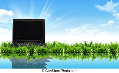 laptop on the grass with the bright sky
