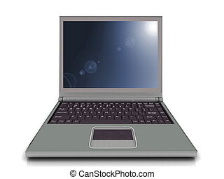 Laptop on the white background