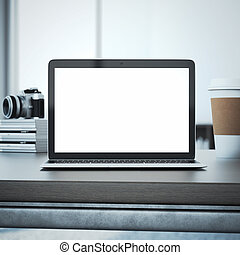 Laptop on the wooden table. 3d rendering