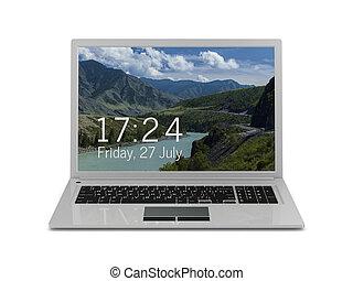 laptop on white background. Isolated 3D illustration