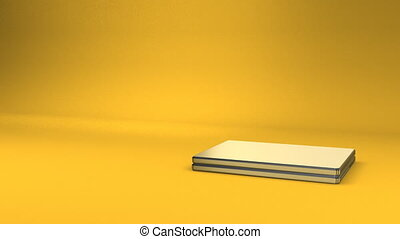 Laptop On Yellow Text Space. 3D render Animation For Business scene.