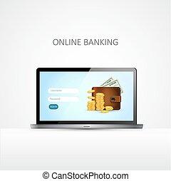 Laptop. Online banking concept. Vector.