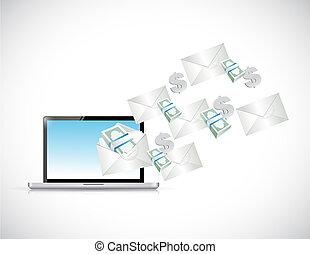 laptop online business concept. illustration