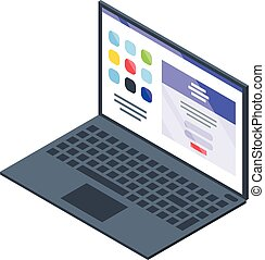 Laptop operating system icon, isometric style