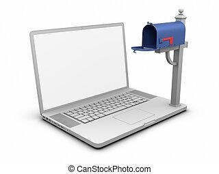 laptop, -, opróżnijcie mailbox
