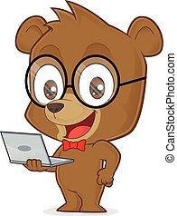 laptop, orso, presa a terra