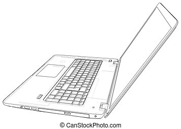 Laptop. outline computer. Vector illustration. Illustration of 3d.