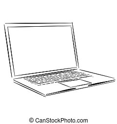 Laptop Outline Sketch