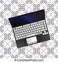 laptop over flowerish texture